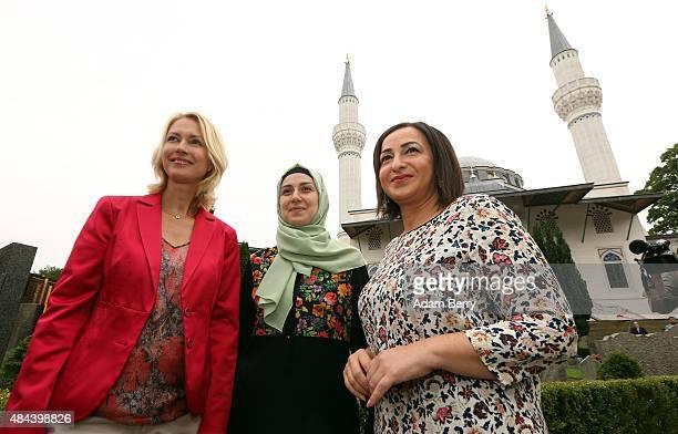 German Family Minister Manuela Schwesig Yasemin Bagci member of board of the Sehitlik mosque and Berlin's Integration Senatror Dilek Kolat attend the...