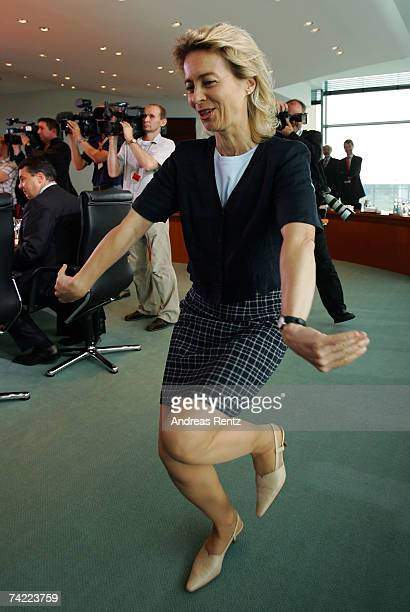 German Family Minister Ursula von der Leyen arrives for the weekly German cabinet meeting on May 23 2007 in Berlin Germany One of the topics on the...