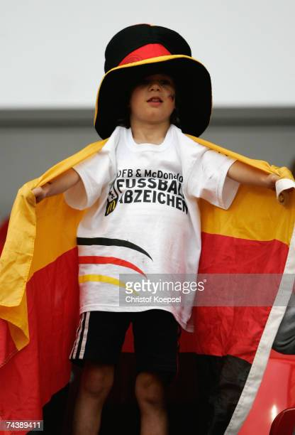 German fan poses during the UEFA EURO 2008 qualifier between Germany and San Marino at the Easy Credit stadium on June 2007 in Nuremberg Germany