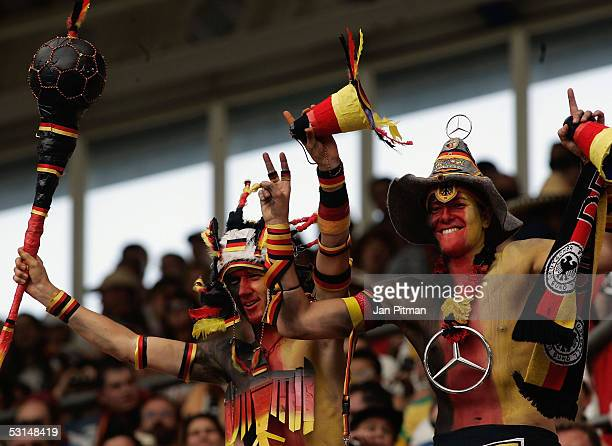 German fans are dressed in the German colors before the FIFA Confederations Cup 2005 semifinal match between Germany and Brazil on June 25 2005 in...