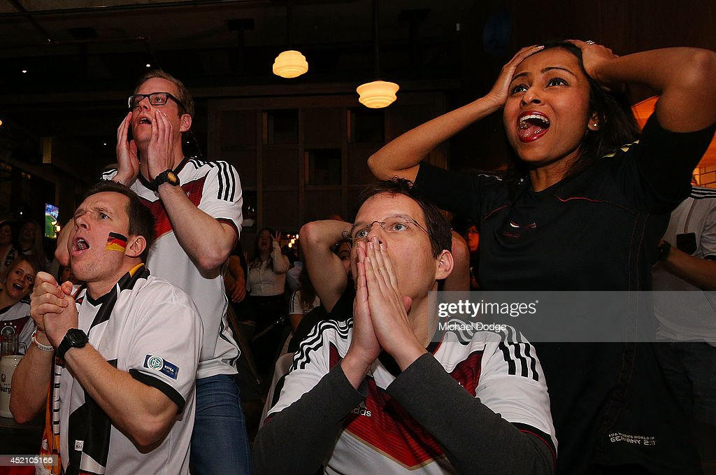 German fans at Hophaus react after conceding a goal that was later ruled offside while watching the 2014 FIFA World Cup Final match between Germany and Argentina on July 14, 2014 in Melbourne, Australia.