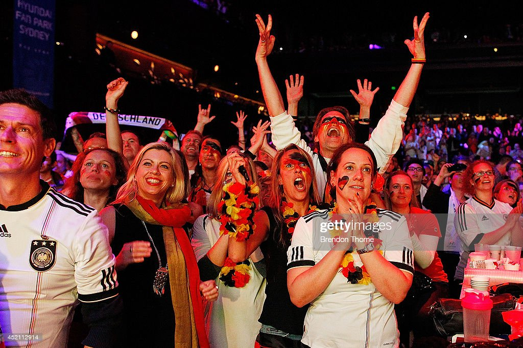 German fans celebrate at full time at The Star during the 2014 FIFA World Cup Final match between Germany and Argentina on July 14, 2014 in Sydney, Australia.