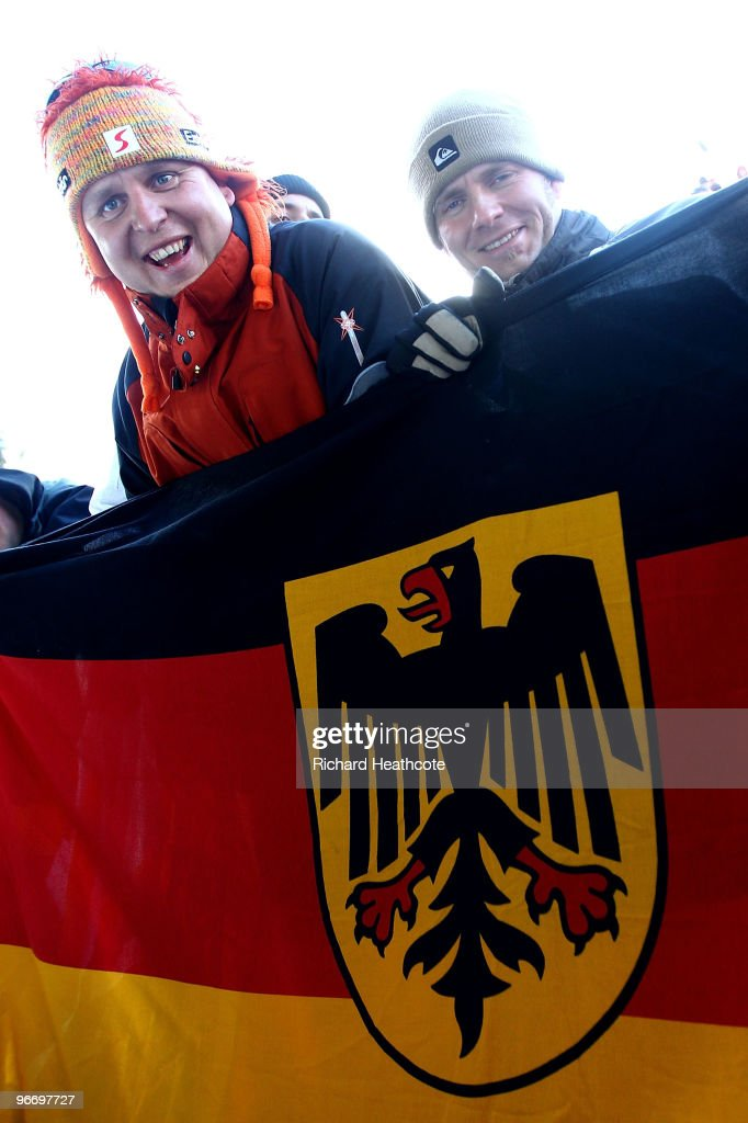 German fans during the final run of the men's luge singles final on day 3 of the 2010 Winter Olympics at Whistler Sliding Centre on February 14, 2010 in Whistler, Canada.