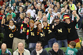 German fans during the UEFA EURO 2016 Qualifier group D match between Republic of Ireland and Germany at the Aviva Stadium on October 8 2015 in...