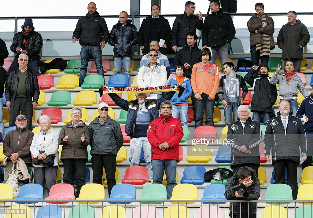German fans during the Under17 Algarve Youth Cup match between U17 Portugal and U17 Germany at the Stadium Bela Vista on February 12, 2013 in Parchal, Portugal.