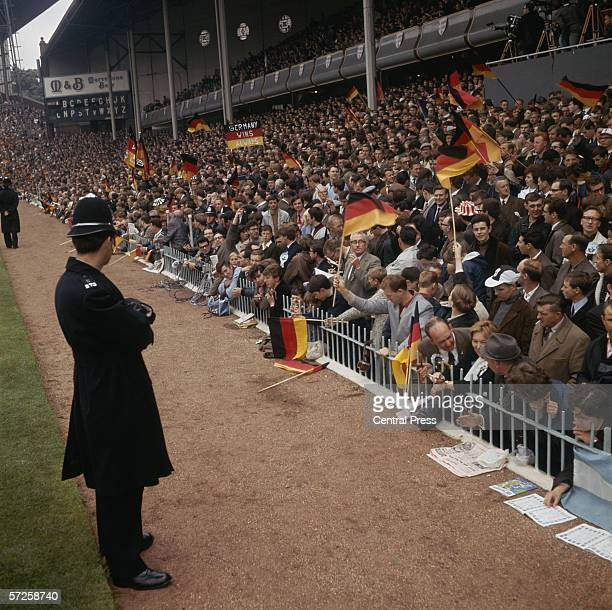 German fans supporting their team at Villa Park during the group stages of the 1966 World Cup in England July 1966