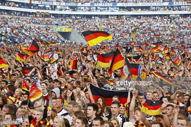ARENA FRANKFURT HESSE GERMANY German fans wait for the World Cup Final to start 50000 fans watched the 2014 FIFA Soccer World Cup Final between...