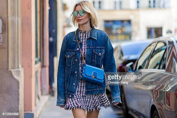 German fashion blogger Lisa Hahnbueck wearing Denim Jacket Citizens of Humanity Boyfriend Denim Jacket Dress Sandy Lang Jeffrey Pink Tweed Dress bag...