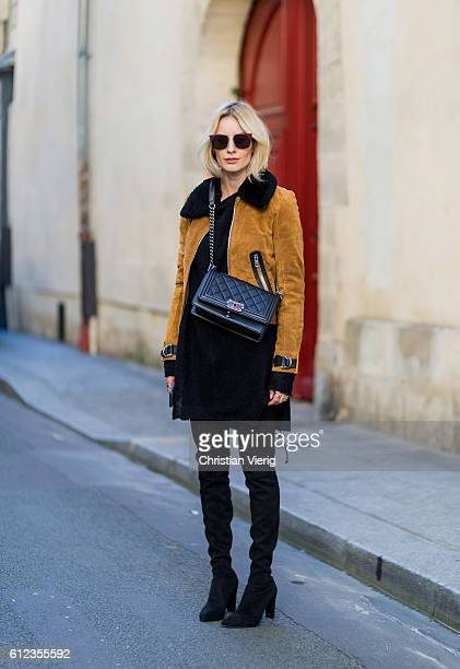 German fashion blogger Lisa Hahnbueck wearing Make Leather Jacket Knit Mens Rick Owens Oversize Mohair Knit Boots Overknee Boots Alllegs Stuart...