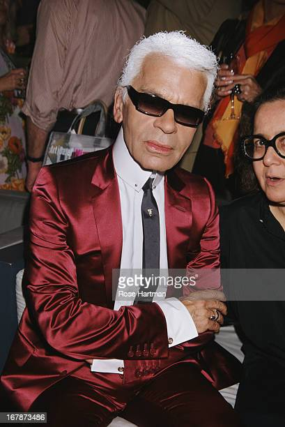 German fashion designer artist and photographer Karl Lagerfeld at the Art Basel party being held at the Mynt Lounge Miami 2002