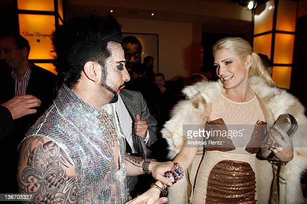 German fashion designer Harald Gloeoeckler and Sarah Kern attend the fashion show 'Gloeoeckler presented by bonprix' collection launch at FELIX club...