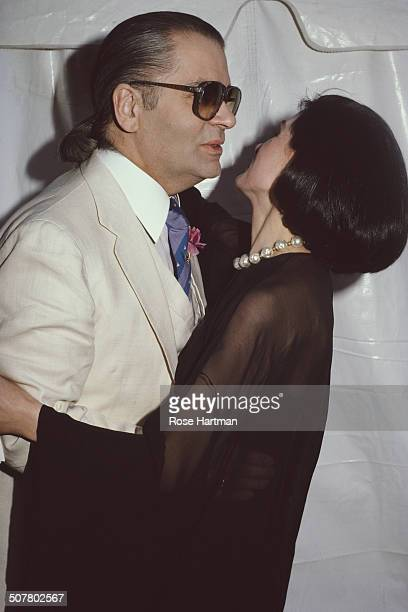 German fashion designer Karl Lagerfeld and French fashion designer and businesswoman Paloma Picasso at a Karl Lagerfeld fashion show at the...