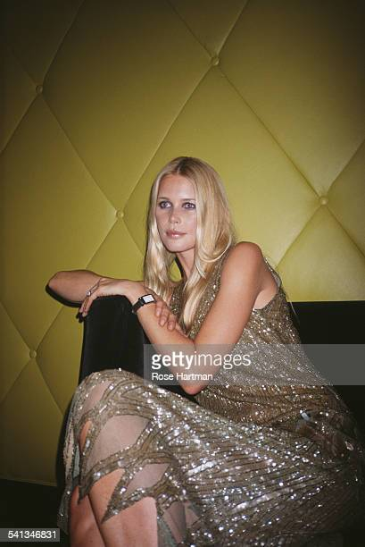 German fashion model Claudia Schiffer at the launch party for new Bulgari art deco watch 'Retangolo' at Eugene New York City 2000