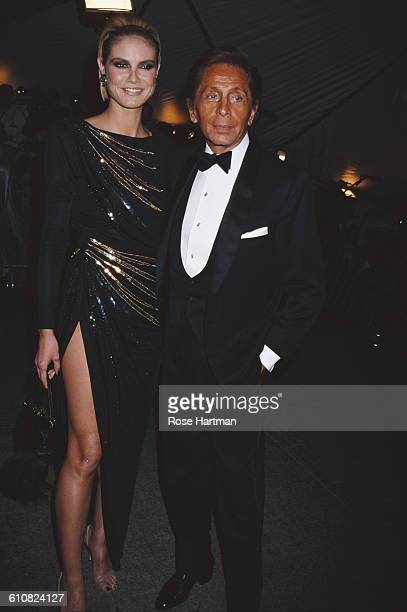 German fashion model Heidi Klum with Italian fashion designer Valentino at the Costume Institute Gala at the Metropolitan Museum of Art New York City...