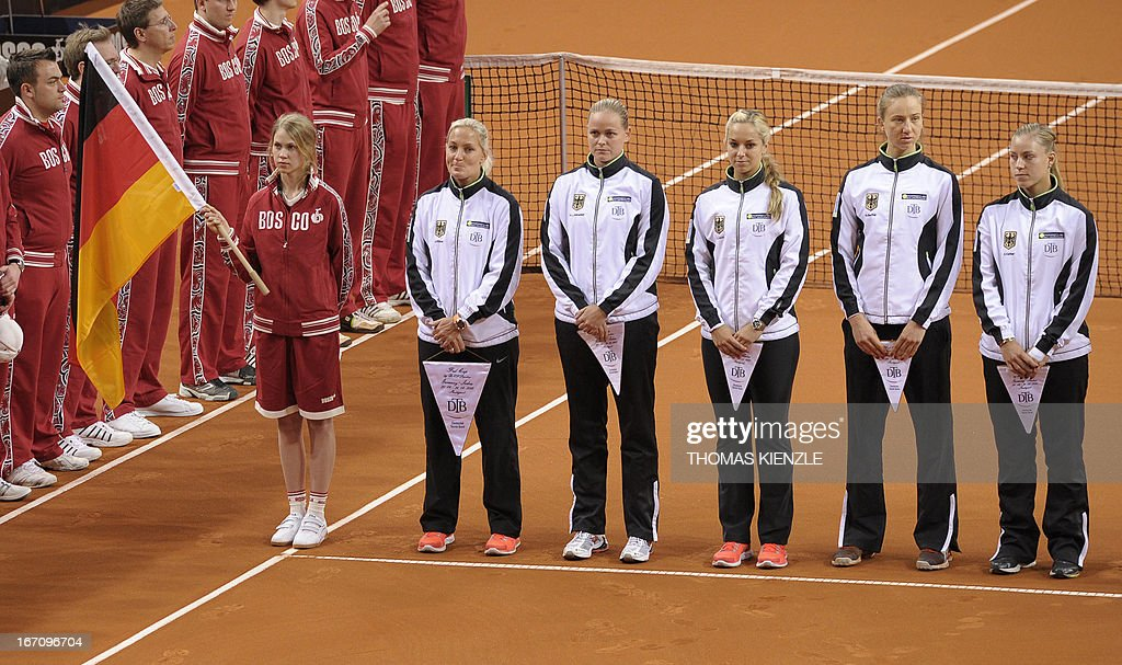 German FedCup team (R-L) with Angelique Kerber, Mona Barthel, Sabine Lisicki, Anna-Lena Groenefeld and team captain Barbara Rittner is lined up prior to the tennis FedCup World Group play-off Germany vs Serbia in Stuttgart, southwestern Germany, on April 20, 2013.