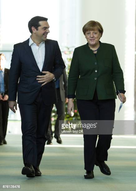 German Federal Chancellor Angela Merkel and the Greek Prime Minister Alexis Tsipras hold a press conference on December 16 2016 at the Federal...