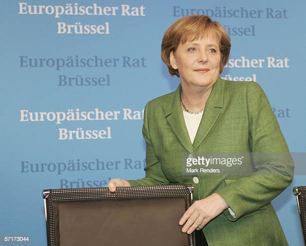 German Federal Chancellor Angela Merkel gives a press conference at the Justus Lipsitus Building during a EU summit on March 24 2006 in the Belgian...