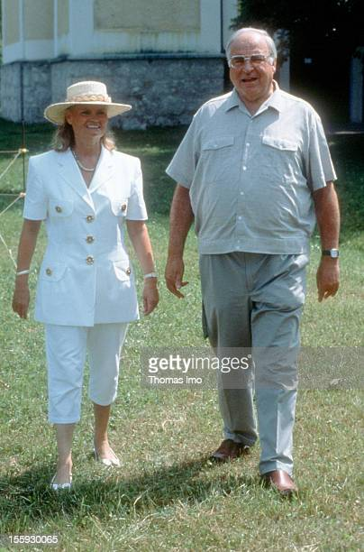 German Federal Chancellor Helmut Kohl with his wife Hannelore Kohl at a holiday resort August 01 Sankt Gilgen Austria