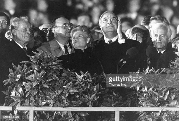 German Federal Chancellor Helmut Kohl with his wife Hannelore Kohl to his left next to her Willy Brandt and German Minister of Foreign Affairs...