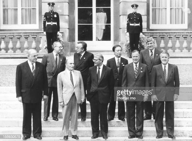 German Federal Chanellor Helmut Kohl with Jaques Delors Giolo Andreotti Toshiki Kaifu Rudd Lubbers and to his right Francois Mitterand John Major...