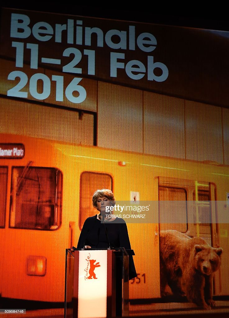 Berlin's Culture minister Monika Grütters speaks on stage at the opening ceremony of the 66th Berlinale Film Festival starting with the screening of the film 'Hail, Caesar!' in Berlin on February 11, 2016. / AFP / TOBIAS SCHWARZ