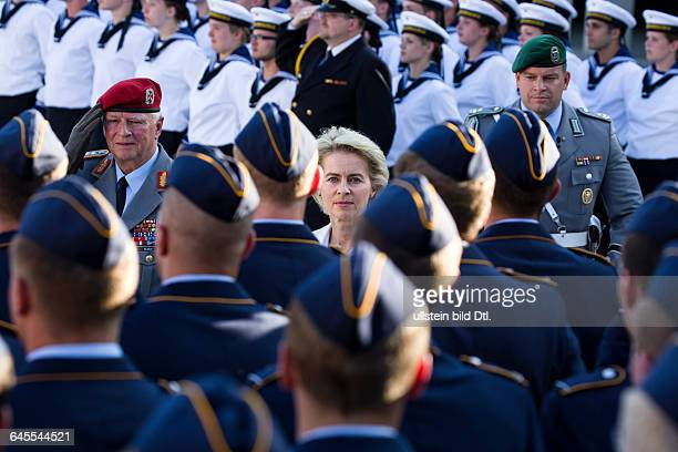 German Federal Defence Minister Ursula von der Leyen and the Inspector General of the Bundeswehr Volker Wieker pacing the front of the soldiers For...