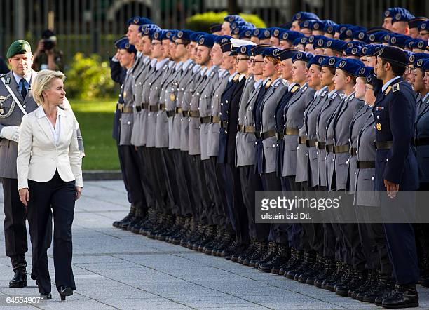 German Federal Defence Minister Ursula von der Leyen and the Inspector General of the Bundeswehr pacing the front of the soldiers For 71 anniversary...