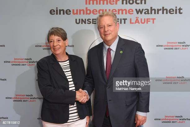 German Federal Minister for Environment Barbara Hendricks and former Vice President Al Gore pose at a photo call for 'An Inconvenient Sequel Truth to...