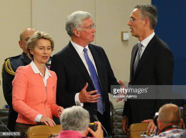 German Federal Minister of Defence Ursula von der Leyen Britain's Defence Secretary Michael Fallon and NATO Secretary General Jens Stoltenberg attend...
