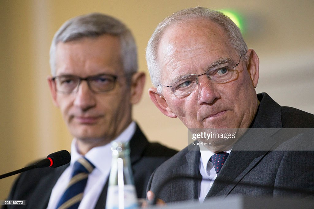 German Federal Minister of Finance Wolfgang Schaeuble (R) is pictured during a news conference on the Tax Estimation for the year 2016 in the Ministry of Finance in Berlin, Germany on May 4, 2016. With a prediction of about 691,2 billions Euro, the Ministry expects to get 5 billions more than previously estimated.