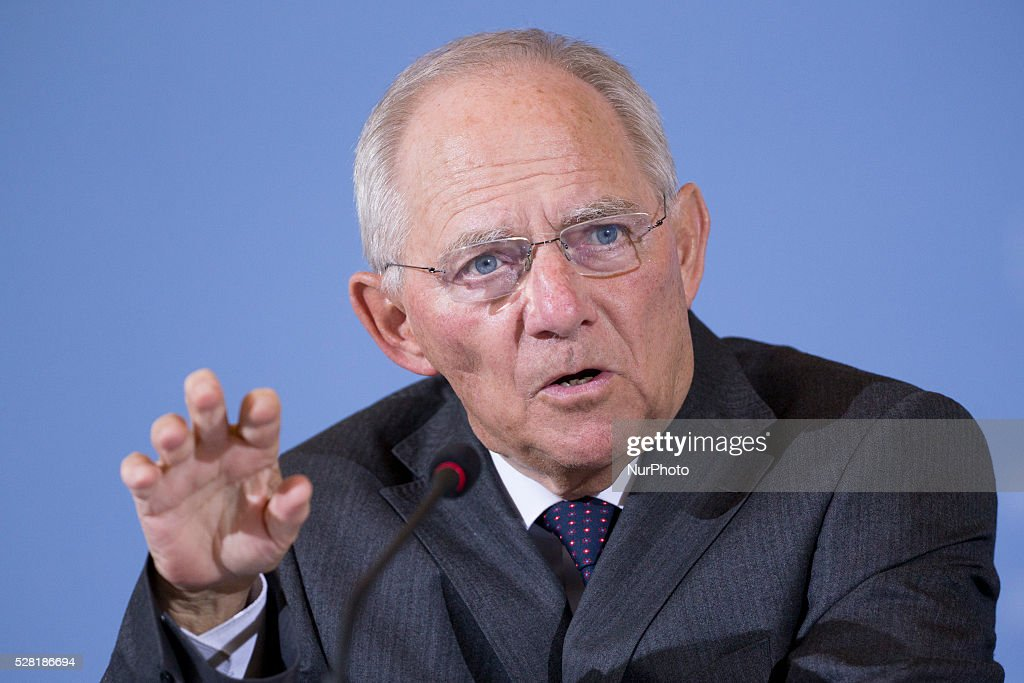 German Federal Minister of Finance Wolfgang Schaeuble (CDU) speaks during a news conference on the Tax Estimation for the year 2016 in the Ministry of Finance in Berlin, Germany on May 4, 2016. With a prediction of about 691,2 billions Euro, the Ministry expects to get 5 billions more than previously estimated.