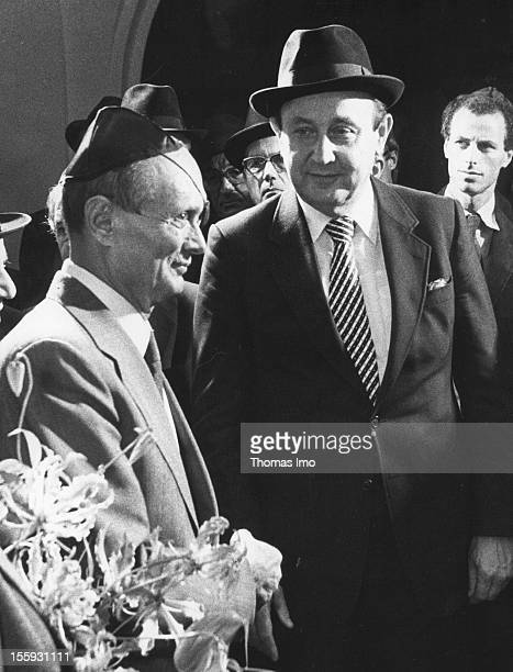 German Federal Minister of Foreign Affairs HansDietrich Genscher visiting a Cologne synagogue with his ministerial colleague from Israel Moshe Dayan...