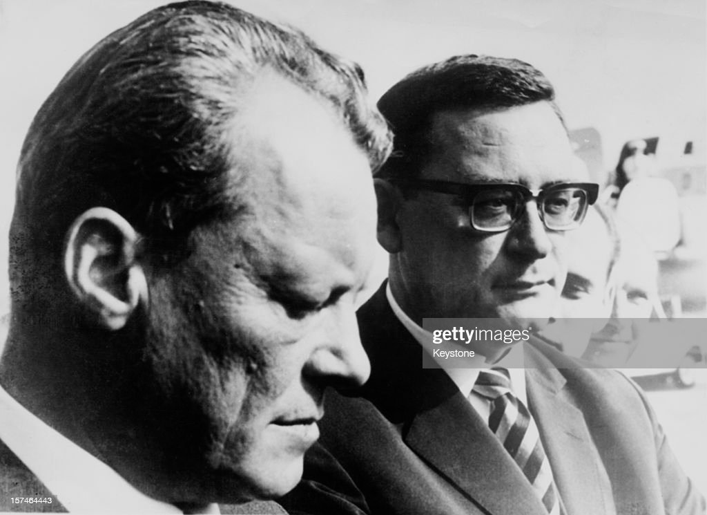 German Federal Minister of Foreign Affairs, <a gi-track='captionPersonalityLinkClicked' href=/galleries/search?phrase=Willy+Brandt&family=editorial&specificpeople=94253 ng-click='$event.stopPropagation()'>Willy Brandt</a> (1913 - 1992, left) arriving at Tempelhof airport in West Berlin with his Secretary of State Klaus Schutz (1926 - 2012), 2nd October 1967. Schutz was elected Mayor of West Berlin two weeks later.