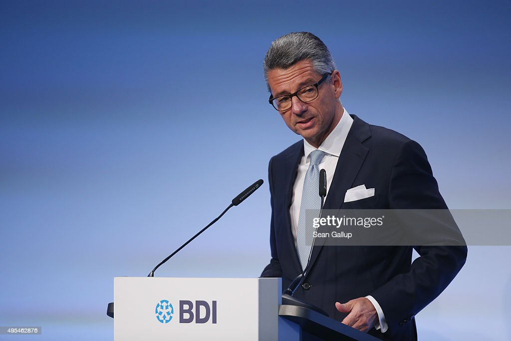 German Federation of Industry (BDI) President Ulrich Grillo speaks at the 'Day of German Indsutry' annual gathering on November 3, 2015 in Berlin, Germany. Hosted by the BDI, the annual gathering brings together industrial leaders from across Germany as well as political leaders.