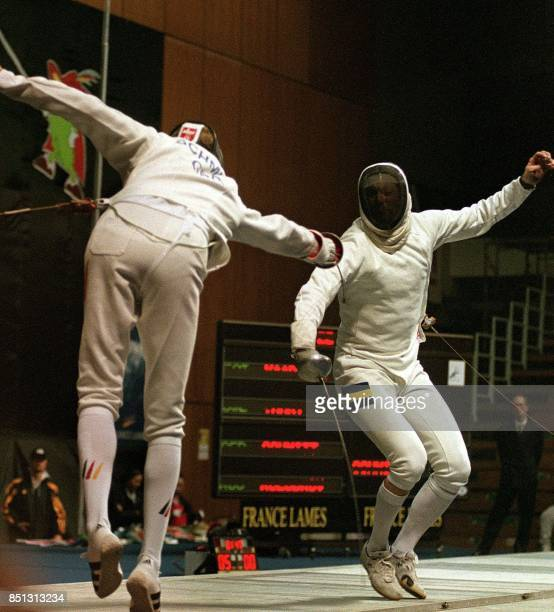 German fencing player Schmitt Amd fights with Sweden player Vanky Peter during the '99 World Fencing Championships men's epee final match in Seoul 04...