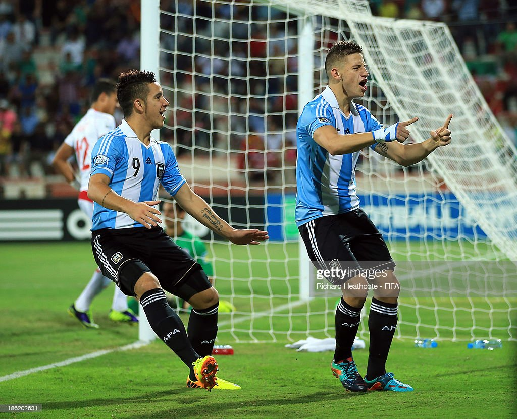 German Ferreyra of Argentina celebrates scoring the opening goal during the FIFA U-17 World Cup UAE 2013 round of 16 match between Argentina and Tunisia at the Rashid Stadium on October 29, 2013 in Dubai, United Arab Emirates.
