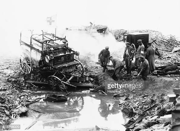 A German field hospital and ambulance trucks were decimated by enemy artillery fire | Location Kemmel Belgium