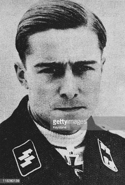 German field officer Joachim Peiper of the WaffenSS circa 1940 He is wearing the Iron Cross awarded to him in 1940