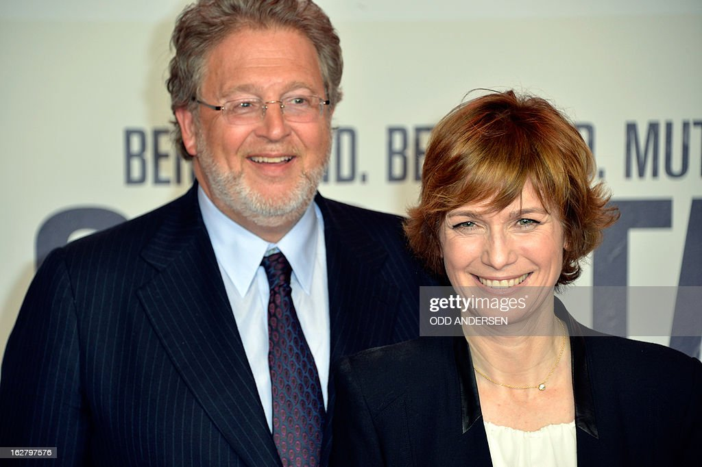 German film director Sherry Hormann (R) and producer Martin Moszkowicz pose for photographers as they arrive for the screening of '3096 days', a film based on Kampusch story, on February 27, 2013 at in Berlin. The film, based on the ordeal of Natascha Kampusch, is on set to open on February 28, 2013 in the German cinemas.