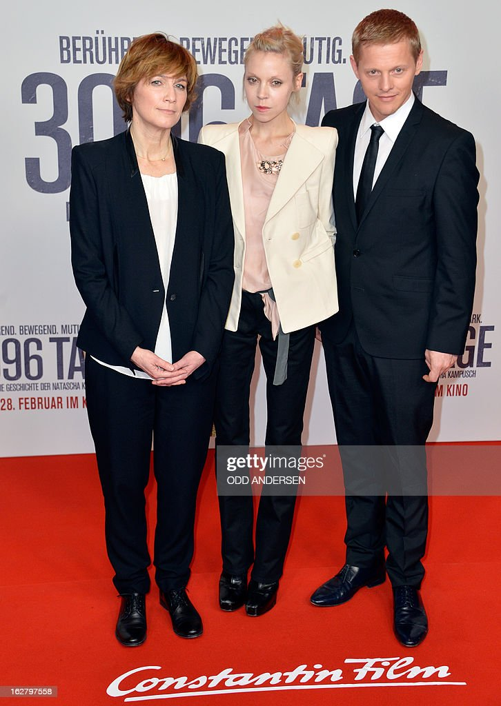 German film director Sherry Hormann, English actress Antonia Campbell-Hughes and Danish actor Thure Lindthardt pose for photographers as they arrive for the screening of '3096 days', a film based on Kampusch story, on February 27, 2013 at in Berlin. The film, based on the ordeal of Natascha Kampusch, is on set to open on February 28, 2013 in the German cinemas.