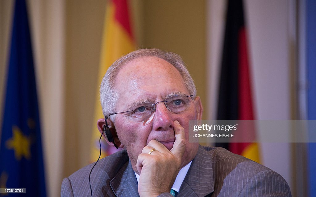 German Finance Minister Wolfgang Schaeuble addresses a press conference after the signing of an agreement outlining financial support to Spanish small and medium-sized businesses in Berlin on July 4, 2013. Germany and Spain signed an agreement to boost access to affordable credit for small and medium enterprises in the recession-hit southern European country in a bid to foster growth and create jobs.