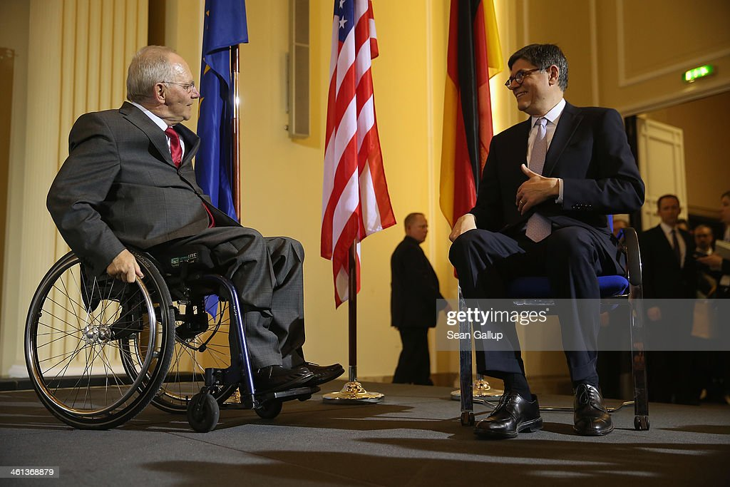 German Finance Minister Wolfgang Schaeuble (L) and U.S. Treasury Secretary <a gi-track='captionPersonalityLinkClicked' href=/galleries/search?phrase=Jack+Lew&family=editorial&specificpeople=2745013 ng-click='$event.stopPropagation()'>Jack Lew</a> arrive to speak to the media following talks at the Finance Ministry on January 8, 2014 in Berlin, Germany. Lew urged the German government to do more to stimulate domestic demand. Germany has a high export surplus that critics charge does not benefit the world economy.