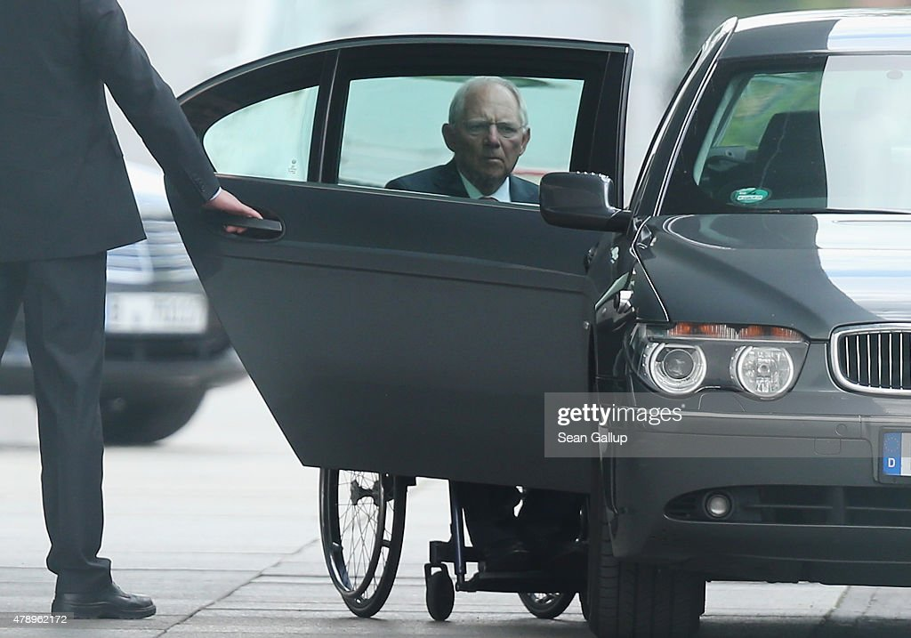 German Finance Minister Wolfgang Schaeuble arrives at the Chancellery for an extraordinary meeting with German Chancellor Angela Merkel and the leaders of Germany's main political parties the day after the European Central Bank announced it would not extend emergency funding to Greece on June 29, 2015 in Berlin, Germany. Stock markets in Europe were markedly down today and the Greek government ordered cash machines turned off and a tightening on the flow of capital in an effort to staunch citizens' withdrawals.