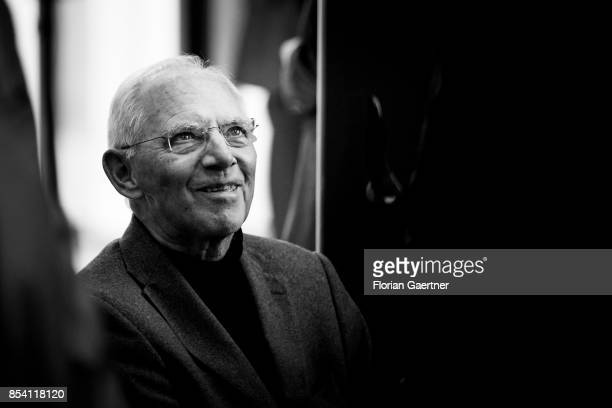Image has been converted to black and white BERLIN GERMANY SEPTEMBER 26 German Finance Minister Wolfgang Schaeuble arrives for a joint meeting of the...