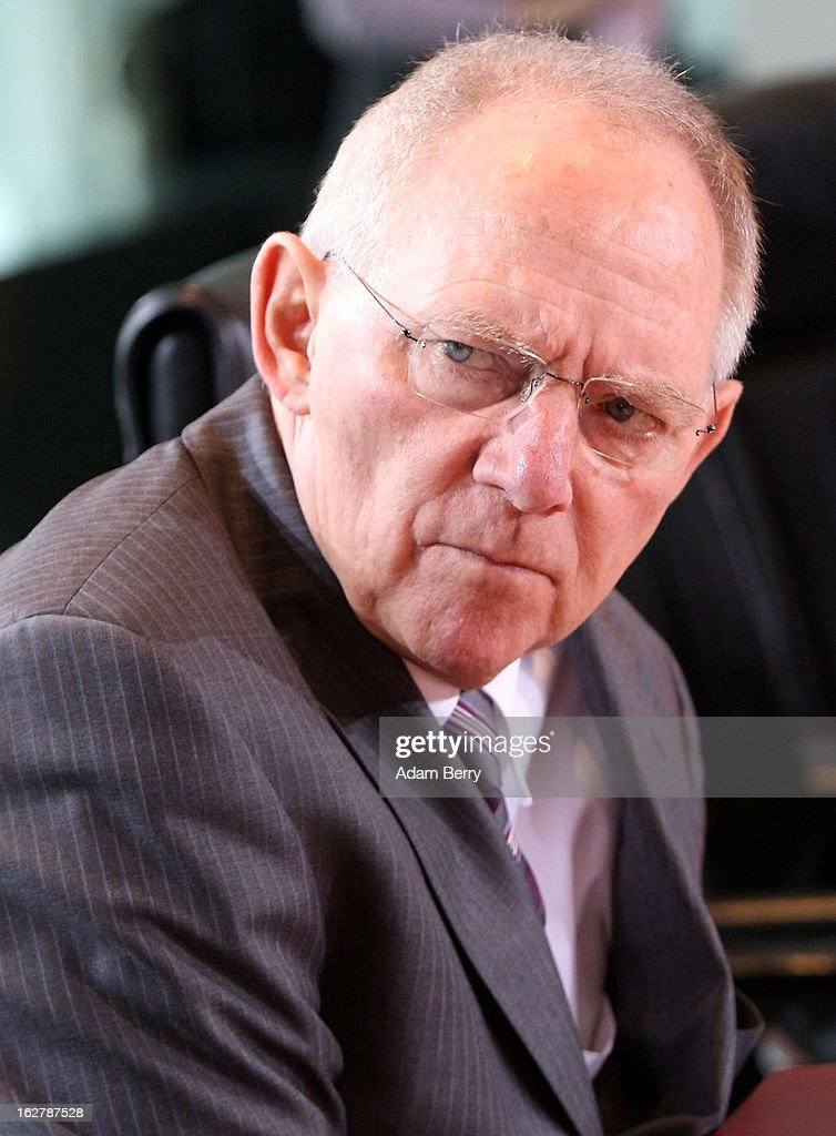 German Finance Minister Wolfgang Schaeuble arrives for the weekly German federal cabinet meeting on February 27, 2013 in Berlin, Germany. High on the morning's agenda was discussion of the country's annual report on disarmament as well as of potential modifications to a law on employment rights for foreigners.