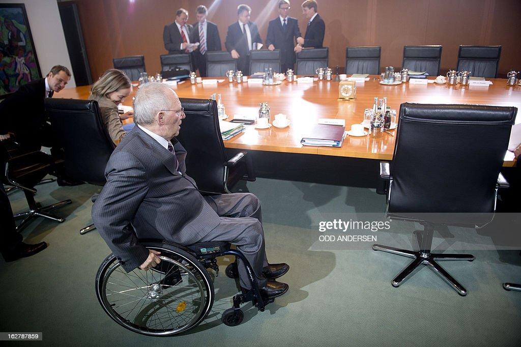 German finance minister Wolfgang Schaeuble arrives for the weekly cabinet meeting at the Chancellery in Berlin on February 27, 2013.