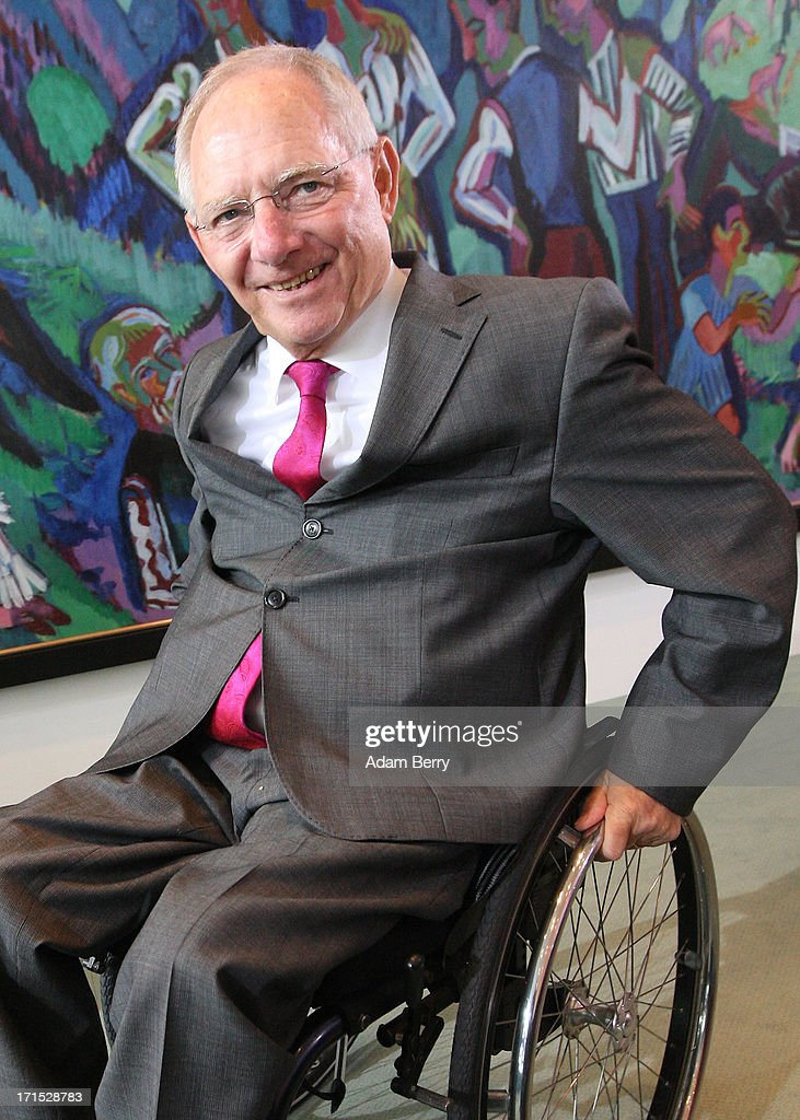 German Finance Minister Wolfgang Schaeuble arrives for the weekly German federal Cabinet meeting on June 26, 2013 in Berlin, Germany. High on the morning's agenda was discussion of the country's 2014 federal budget.
