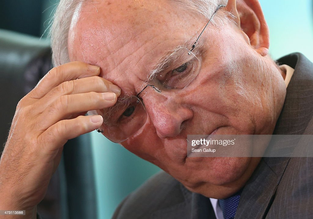 German Finance Minister Wolfgang Schaeuble arrives for the weekly government cabinet meeting on May 13, 2015 in Berlin, Germany. High on the morning's agenda was a strategy towards combating antiobiotics-resistant bacteria.