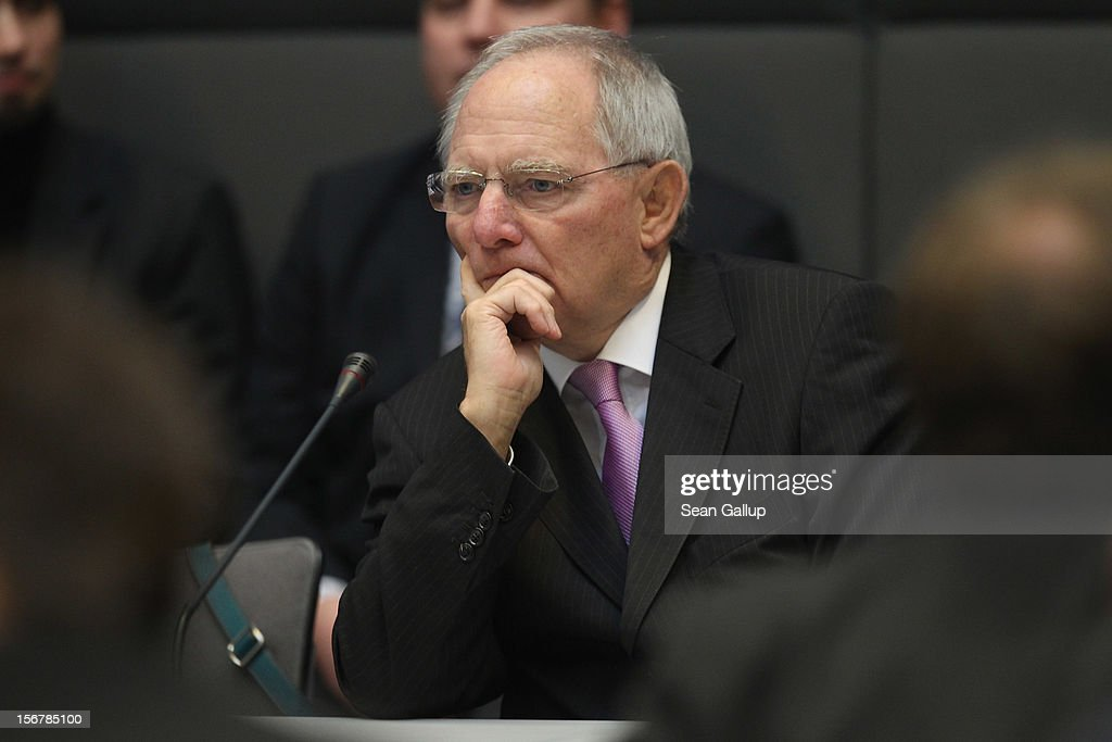 German Finance Minister Wolfgang Schaeuble attends a meeting of the Greens Party while making the rounds between the various political party factions at the Bundestag prior to continued debates over the 2013 federal budget on November 21, 2012 in Berlin, Germany. Bundestag members are debating the budget over four days this week.