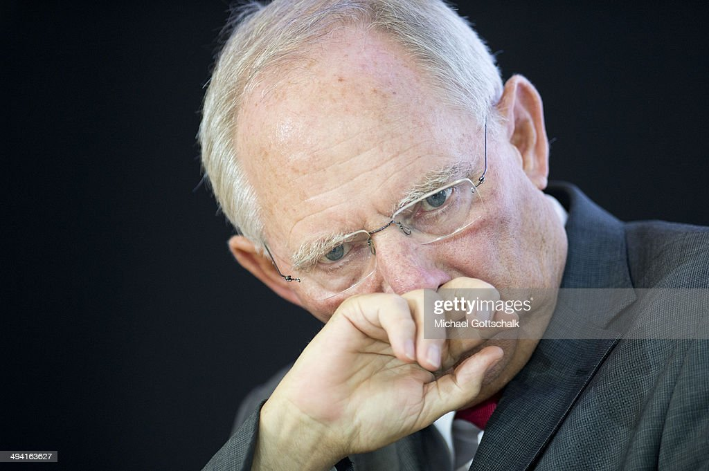 German Finance Minister Wolfgang Schaeuble attends a press conference after a working session of federal council of stabiliy with delegates of german federal government and federal states on May 28, 2014 in Berlin, Germany.